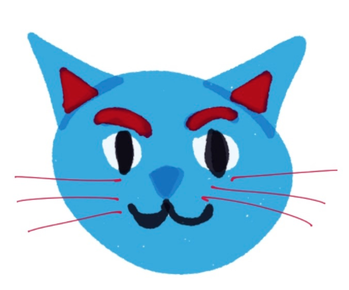 A blue cat face